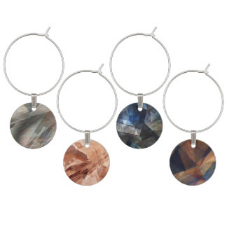 Four Digital Abstract Art Wine Charms