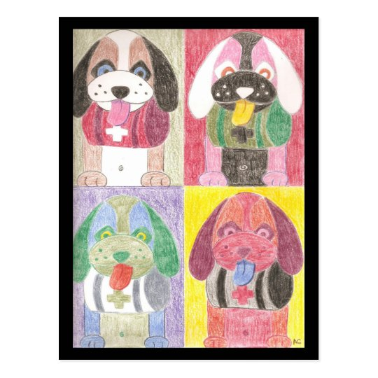 Four dogs postcard