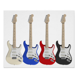 Four, electric guitars poster