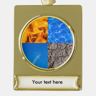 Four Elements Gold Plated Banner Ornament