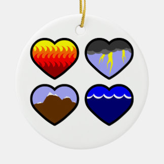 Four Elements Hearts Christmas Ornaments