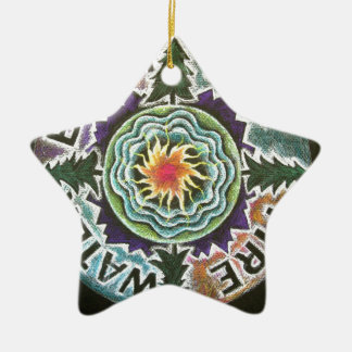 Four Elements Sun Mandala Ceramic Star Decoration