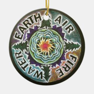 Four Elements Sun Mandala Christmas Ornament