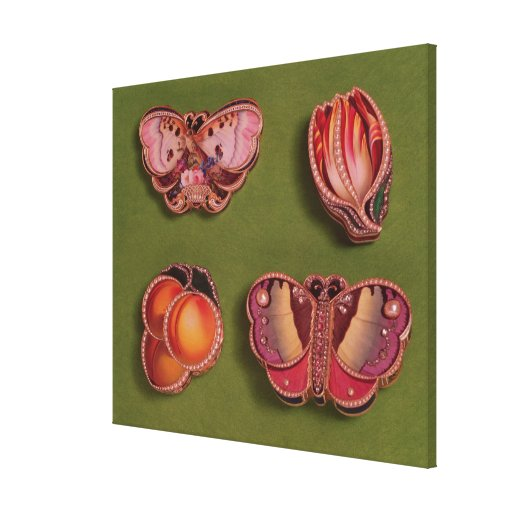 Four enamelled and jewelled boxes, butterfly stretched canvas prints