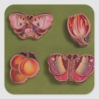 Four enamelled and jewelled boxes, butterfly square sticker