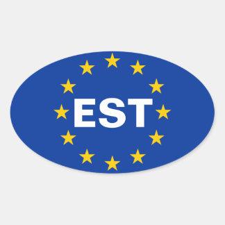 """FOUR Estonia """"EST"""" European Union Flag Oval Sticker"""