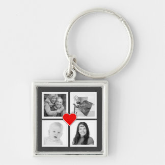 Four Family or Couple Instagram Photos with Heart Silver-Colored Square Key Ring