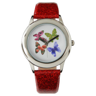 Four Flower Butterflies, Girls Glitter Watch