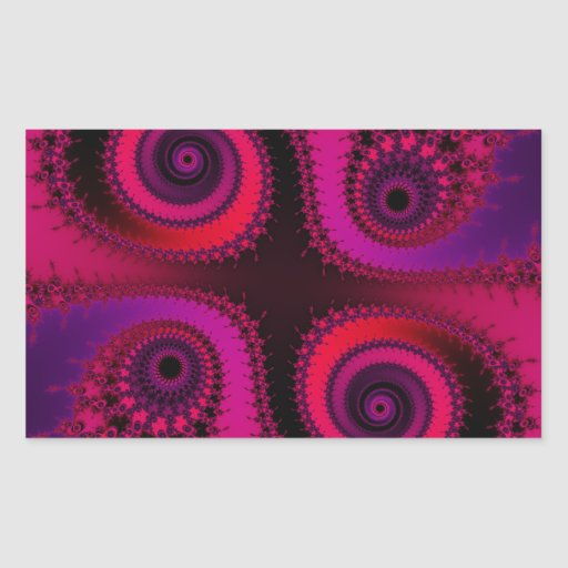 Four Fractal Spirals - red, purple, fuchsia Stickers
