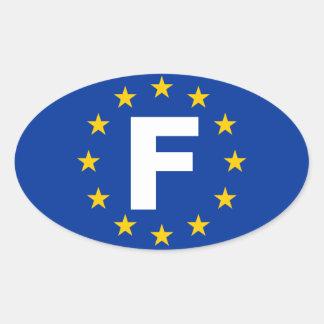 "FOUR France ""F"" European Union Flag Oval Sticker"