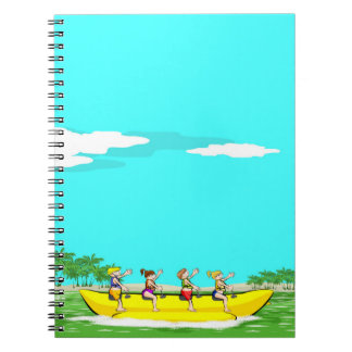 Four friendly amusing itself in a boat banana spiral notebook