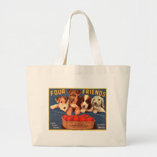 Four Friends Vintage Tomato Crate Label Jumbo Tote Bag