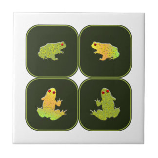 Four frogs small square tile