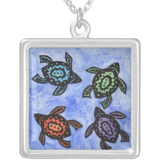 Four Fun Abstract Black Turtles Colored shells Silver Plated Necklace