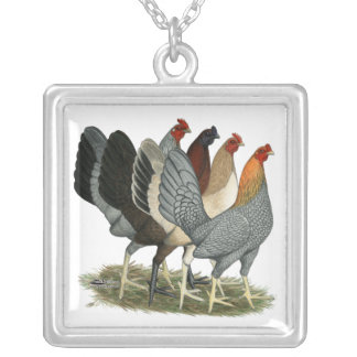 Four Gamefowl Hens Silver Plated Necklace