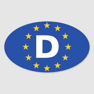 "FOUR Germany ""D"" European Union Flag Oval Sticker"