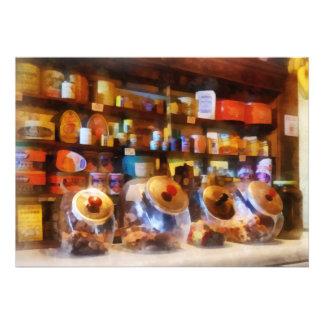 Four Glass Candy Jars Custom Announcement