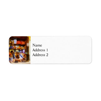 Four Glass Candy Jars Return Address Label