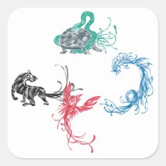 Four Gods Square Sticker
