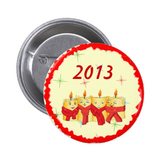 Four golden candles with red scarfs 2013 button