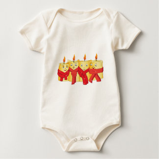 Four golden candles with red scarfs baby bodysuit