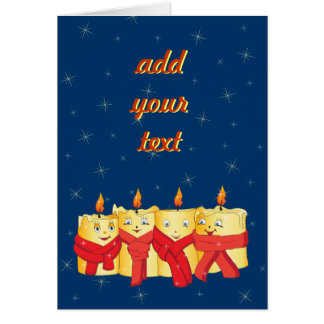Four golden candles with red scarfs greeting card