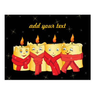 Four golden candles with red scarfs postcard