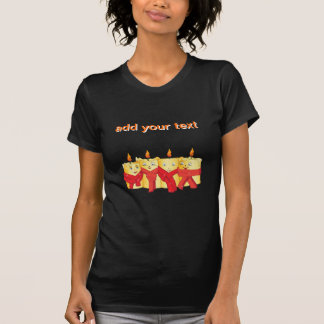Four golden candles with red scarfs t shirt