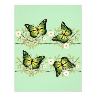 Four green butterflies 21.5 cm x 28 cm flyer