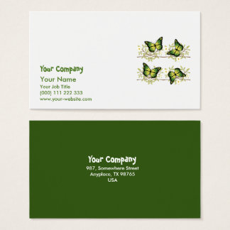 Four green butterflies business card