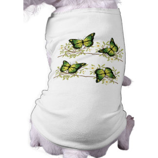 Four green butterflies sleeveless dog shirt