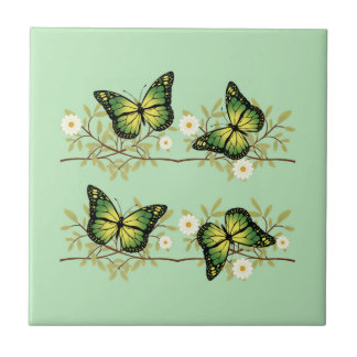 Four green butterflies tile