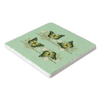 Four green butterflies trivet