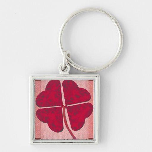 Four Heart Clover Keychain