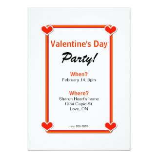 Four Hearts Valentine's Day Party 13 Cm X 18 Cm Invitation Card