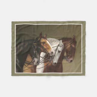 FOUR HORSES Fine Art Print Fleece Blanket