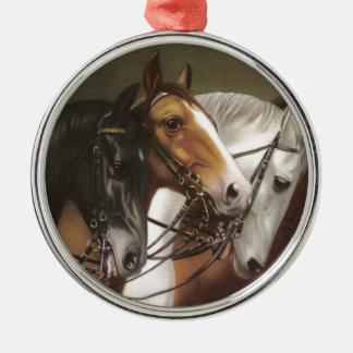 Four Horses Vintage Art Premium Ornament Round