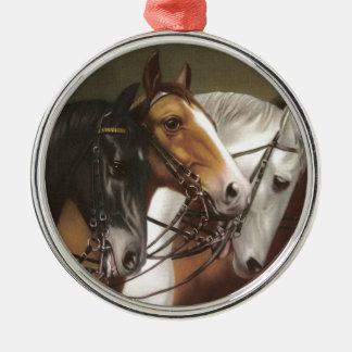 Four Horses Vintage Art Premium Ornament Round