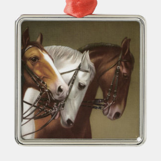 Four Horses Vintage Art Premium Ornament Square