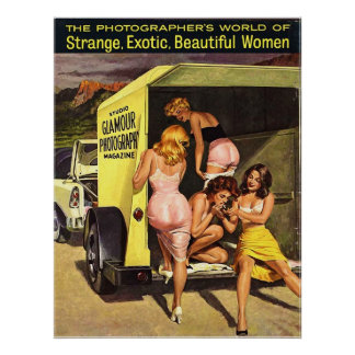 Four Hot Pinup Girls Undressing and Smoking Poster