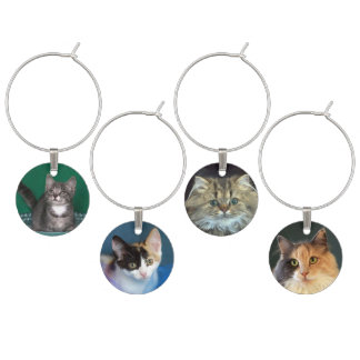 Four Kitten and Cat Faces Wine Charm