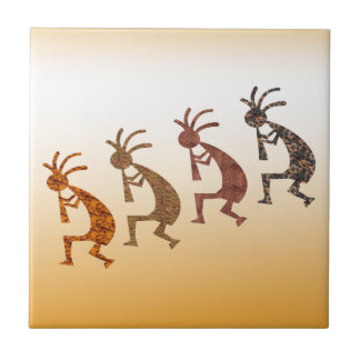Four Kokopelli Ceramic Tile