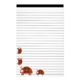 Four Ladybugs Lined Stationery