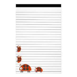 Four Ladybugs Lined Stationery