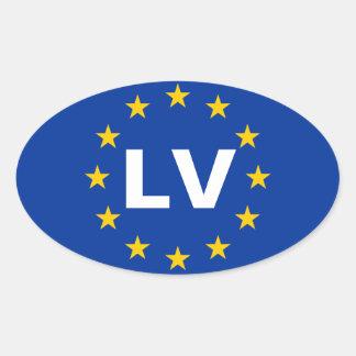 """FOUR Latvia """"LV"""" European Union Flag Oval Sticker"""
