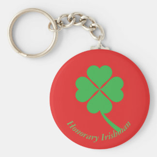 Four-leaf clover basic round button key ring