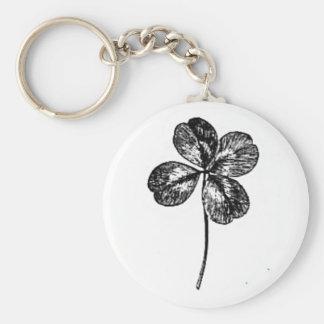 four-leaf clover basic round button key ring