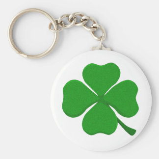 Four Leaf Clover Basic Round Button Key Ring