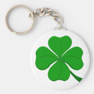 four-leaf-clover basic round button key ring