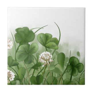 Four Leaf Clover Ceramic Tile